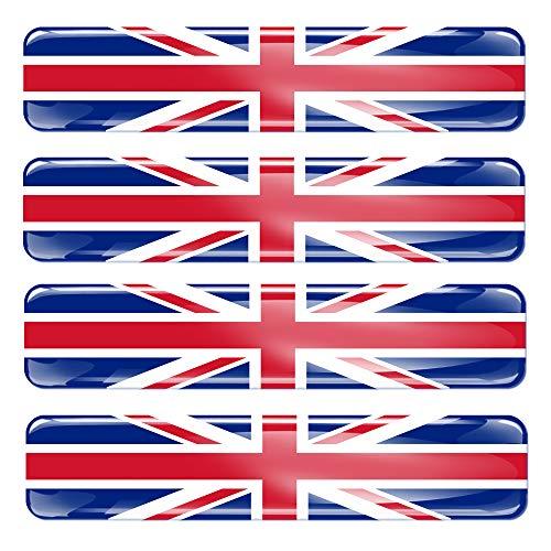 Biomar Labs 4 x 3D Silicone Adesivi Resinati Bandiera Nazionale del Regno Unito UK Union Jack per Auto Moto Finestrìno Scooter Bici Motociclo Tuning F 26