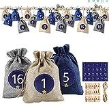 DASFOND Calendario adviento saquitos,Set de 24 Bolsas de Yut