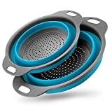 Set of 2 Collapsible Kitchen Colander/Strainer Colander Set, Environmentally Friendly Non-Toxic Easy to Clean, 2 Sizes Including (Blue)