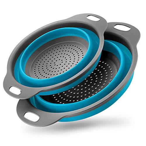 BILIEASY 2er Set faltbares Küchensieb/Sieb Set umweltfreundlich ungiftig pflegeleicht 2 Größen inkl. blau