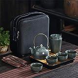 Juego de té de cerámica Chino, Juego de té Retro de Negocios Juego de té de Viaje portátil Simple Juego de Regalo con Bandeja de té Adecuado para Viajes hogar Oficina al Aire Libre