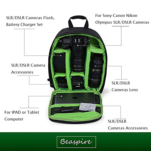 Mini Kamera Rucksack dslr Wanderkamera Tasche wasserdicht für Kanon, Nikon, Sony, Olympus, Samsung, Panasonic, Pentax Kameras,Grün