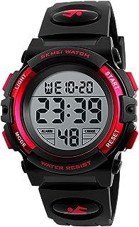 Children Watch Wristwatch Fashion Multifunction Waterproof Outdoor Sports Luminous Watch for Kids Students Boys 1266 Red