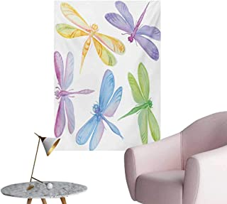 Anzhutwelve Dragonfly Wall Sticker Decals Colorful Watercolor Winged Bugs Children Kids Nursery Spring Themed Artsy PictureMulticolor W32 xL48 Poster Paper