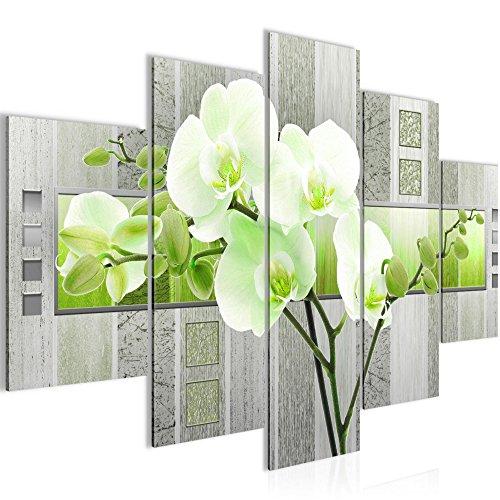 Bild 150 x 100 cm - blumen Bilder- Vlies Leinwand - Deko für Wohnzimmer -Wandbild - XXL 5 Teilig Teile - leichtes Aufhängen- 800753b