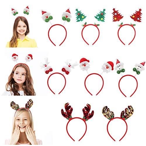 Belle Vous Weihnachts Haarreif (8 Stk) - Verschiedene Haarreifen Weihnachten Kopfschmuck Haarschmuck Party Accessoires Stirnband Rentier, Bär, Geweih (2x), Schneemann, Nikolaus, Weihnachtsbaum