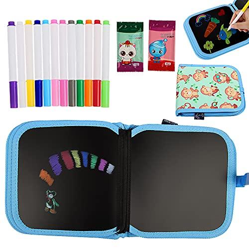 14 Pagine Portatile da Disegno per Bambini, ZoneYan Libro Cancellabile Bambini, Doodle Disegno Giocattoli, Blocco da Disegno Cancellabile per Bambini, con 12 Gessetti Acquerellati