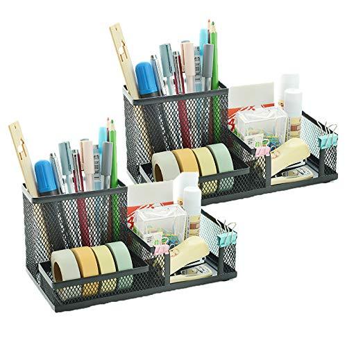 VANRA Metal Mesh Desk Organizer Office Supply Caddy Pen Holder Pencil Cup Desktop Supply Organizer 3 Compartments (2 Black)