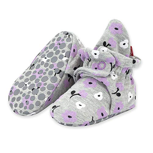 Zutano Organic Cotton Baby Booties with Gripper Soles, Soft Sole Stay-On Baby Shoes, Gray Primrose, 6M