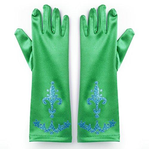 Katara 1098 - Guantes de Princesa - Accessorio de Disfraz Halloween, Carnaval, Cumpleaños - Niñas de 2-9 Años, Verde