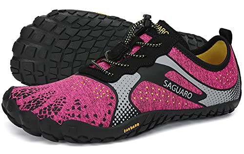 SAGUARO Barfußschuhe Damen Traillaufschuhe Outdoor & Indoor Training Fitnessschuhe Wander Wald Strand Straße Laufschuhe Walkingschuhe Schnell Trocknend Badeschuhe, Hot Pink, 39 EU