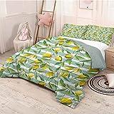 HELLOLEON Nature Paquete de 3 (1 funda de edredón y 2 fundas de almohada), diseño de árbol de limón en rayas con fondo de pincel perenne Art poliéster (completo) helecho verde y amarillo