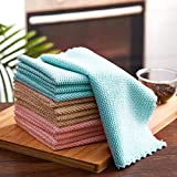 YouCoulee Kitchen Towels and Dishcloths Sets, 12 Packs Dish Towels, Honeycomb Design Dish Cloths Perfect for Kitchen Messes and Drying Dishes, 12 x 12Inches, Pink/Blue/Gray