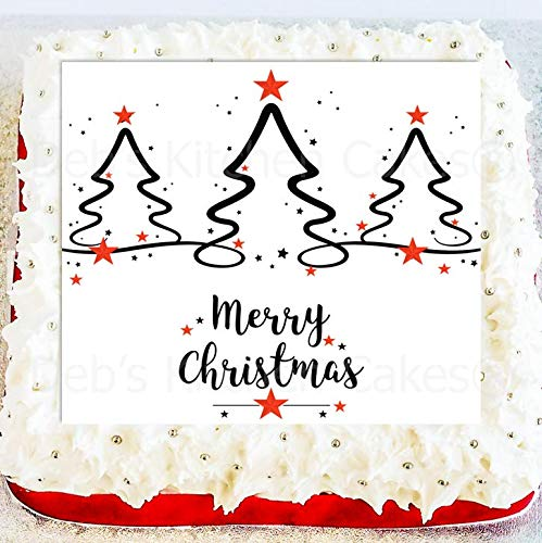 Christmas Cake Topper - Christmas Tree Edible Icing Cake Topper - Square 7.5' 19cm - Christmas Tree Cake Decoration