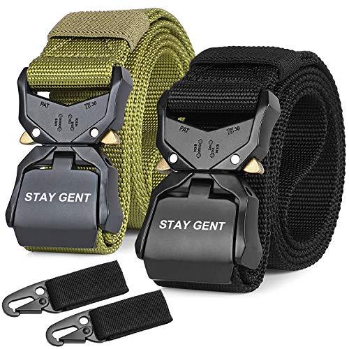 STAY GENT 2 Pezzi di Cintura Tattica per Uomini, Nero Sgancio Rapido Cintura Militare con Fibbia, Pesante Nastro di Nylon Cintura da Lavoro per Attività All'aperto e Utilità, Verde e Nero