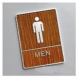 BENOHAOH Puerta de Grano de Madera Muestra de Inodoro Retro WC Etiquetas de Pared Números de señalización Dirección Menores Mujeres Acrílico Placa de Puerta Placa de Alivio Placa de Placa (Color : E)