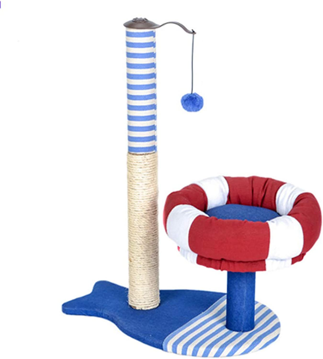 Pet nest pirate ship cat climbing frame Cat toy cat jumping table cat tree cat scratch board with watchtower sisal rope cat toy 54  34.5  75cm