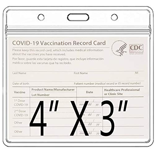 5 Pack-CDC Vaccine Card Protector 4 X 3 Inches Immunization Record Vaccination Cards Holder Clear Vinyl Plastic Sleeve 3 X 4 with Waterproof Type Resealable Zip (Card Sleeve Only)