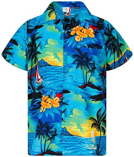 Funky Camicia Hawaiana, Surf New, Turchese, L