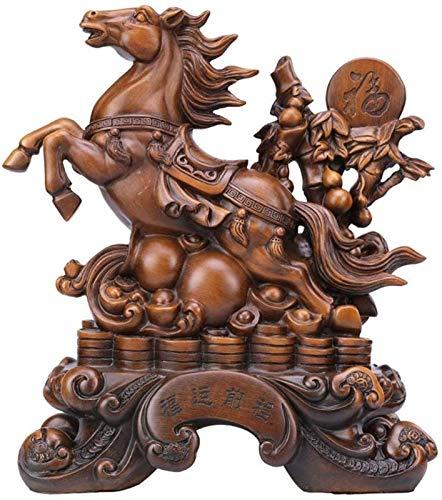 Living Equipment Estatua de Caballo Grande Figura Riqueza Feng Shui Adornos de Resina Símbolo de éxito Escultura Decoración Inauguración de la casa Regalo de felicitación Verde (Color: Verde)