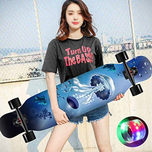 FTTH&YAG Skateboard de Longboard Complete Maple Camber Skateboards Concave Cruiser Freestyle Professional 42 x10 Pulgadas Doble Patada Dancing Down para Adultos Jóvenes Principiantes (Color : A)