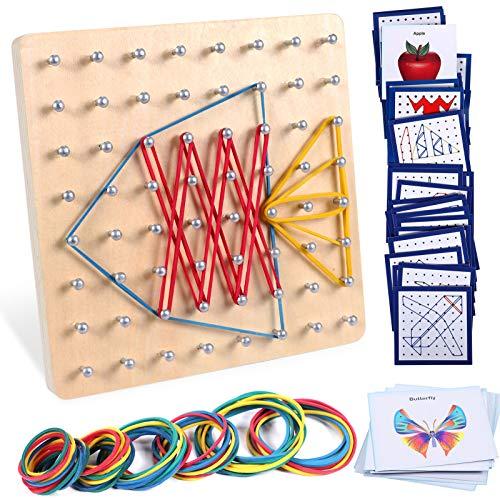 Lewo Holz Geoboard Montessori Spielzeug Mathematische Manipulationen STEM Spielzeug Lernspielzeug mit 48 PCS Musterkarten und Latexbändern