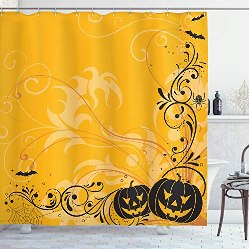 75 Inches Long Ambesonne Skull Shower Curtain Decorations Fabric Bathroom Shower Curtain Set Gothic Dark Background with Dead Ghost Skull Skeleton Mystic Haunted Horror Halloween Theme Blue Green