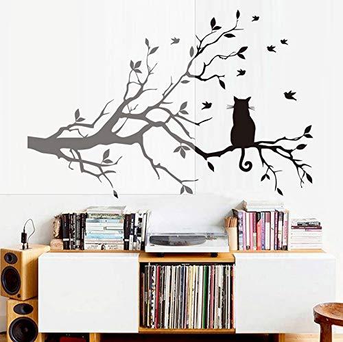 Moderne Wohnzimmer Abnehmbare PVC Silhouette Kunst Wandaufkleber Kratzbaum Ast mit Vogel Wohnkultur Baum Wandtattoo 66x44cm