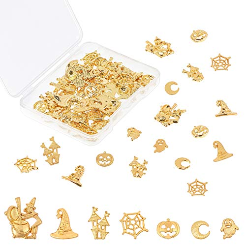 OLYCRAFT 70pcs Halloween Themed Resin Fillers 7-Style Alloy Epoxy Resin Supplies Witch Castle Pumpkin Ghost Cobweb Resin Accessories Resin Filling Charms for Resin Jewelry Making - Golden