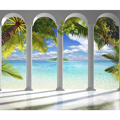 decomonkey Fototapete Meer Insel 400x280 cm XL Tapete Fototapeten Vlies Tapeten Vliestapete Wandtapete moderne Wandbild Wand Schlafzimmer Wohnzimmer Architektur Palmen Tropisch