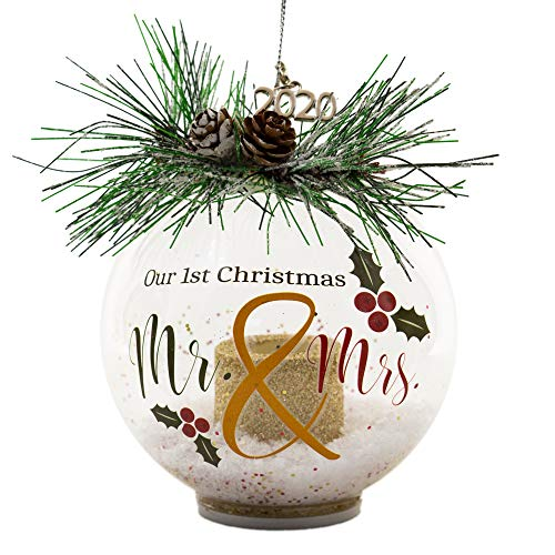 Our First Christmas as Mr. & Mrs. Married 2020 - LED Lighted Glass Ball Ornament with White Glittery Snow and Pine Cones and Christmas Greenery - Traditional Red and Green Design - Wedding Bride Groom