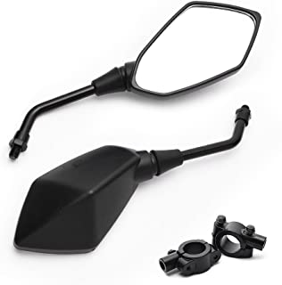 MICTUNING Universal Hawk-eye Motorcycle Convex Rear View Mirror - with 10mm Bolt, Handle Bar Mount Clamp Compatible with Cruiser, Suzuki, Honda, Victory and More