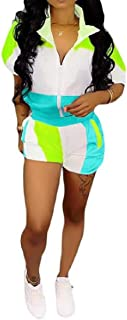 FSSE Women Contrast Athletic Shorts Half Sleeve Casual 2 PCS Outfits Tracksuit Sets