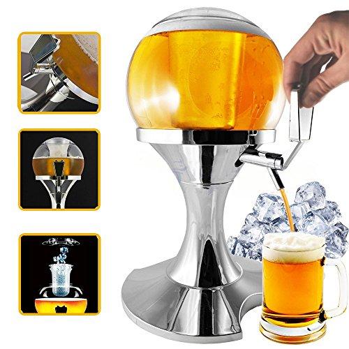 Zapfanlage Bier Kugel mit Eiseinsatz 3.5Liter, Auslauf Bier und andere Getränke, hält Flüssigkeiten frisch, Dispenser und Kühler-Getränke und Bier