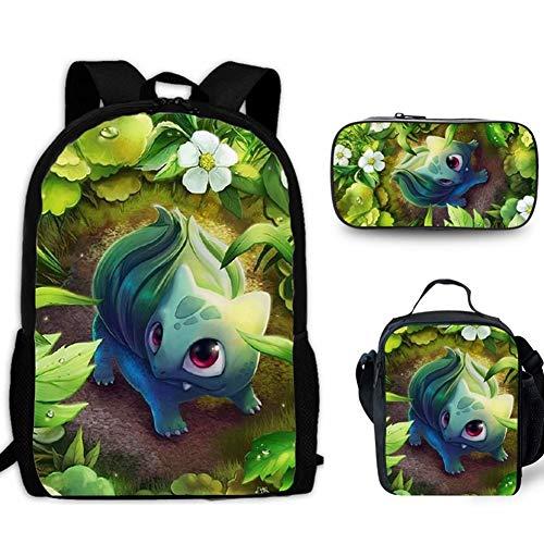 HOOBBI El Detective Pikachu Mochila Escolar del Estudiante Bolsa de Pikachu niños de Dibujos Animados Mochila con Bolsa de Almuerzo lápiz Bolsa, 3PCS (Color : Pikachu4, tamaño : 17inch)
