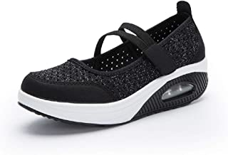 LingGT Large Size Shoes Women Hook Loop Mesh Breathable Rocker Sole Trainers (Color : Black, Size : AU 7.5)