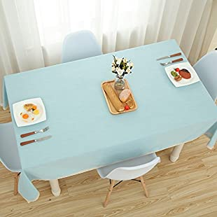 Mrs Sleep Good Cotton Linen Pure Color Blue Lace Table Cloth Dust Cover Table Cover Tablecloth for Kitchen (Blue 1)
