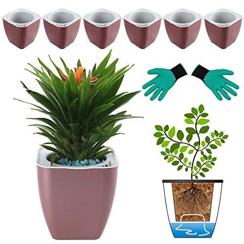 DeEFL 6 Packungen 10,4 cm kleine selbstbewässernde Pflanzgefäße Kunststoff selbstbewässernde Töpfe Wicking Blumentöpfe für Zimmerpflanzen, afrikanische Veilchen, Ozeanspinnen, Orchidee, Rotgold
