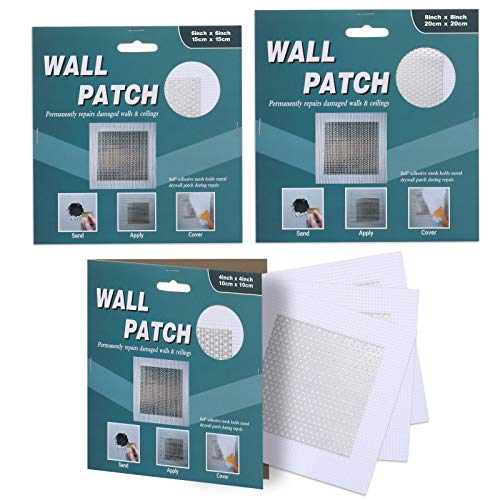 """Wall Patch Repair Kit, Drywall Repair Kit Patch, Self -Adhesive Fiberglass Screen Patch, 4""""x4""""(3)6""""x6""""(1) 8""""x8""""(1)Dry Wall Hole Repair Patch Metal Patch with Extended Self-Adhesive Mesh(5 Pack)"""
