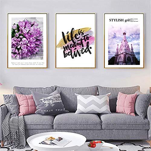 HHXXDO Nordic Pink Purple Flowers and Church Poster Impresión en Lienzo Pintura Arte de la Pared Sala de Estar Decoración del hogar-40x60cmx3 (sin Marco)