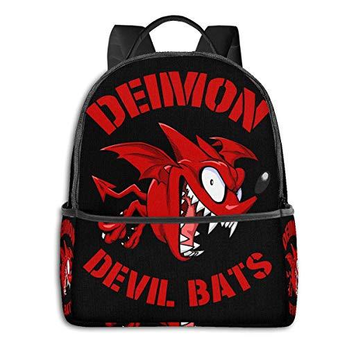 IUBBKI Schwarzer Seitenrucksack Lässige Tagesrucksäcke Anime & Deimon Devil Bats - Eyeshield 21 Classic Student School Bag School Cycling Leisure Travel Camping Outdoor Backpack
