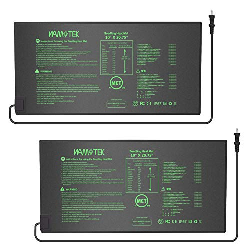 Plant Heat Mat, 10 x 20.75 inches 2 Pack Durable Waterproof Seed Germination Heating Mat, Warm Hydroponic Heating Pad MET Standard