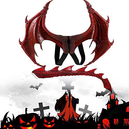 RainbowBeauty 1Set Kinder Fantasie Dragon Wings Kostüm Halloween Dinosaurio Drachen Kostüm Tier Flügel- und Schwanz Zubehör für Halloween-Party-Kostüm rot