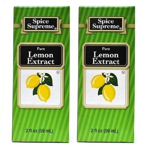 Spice Supreme Flavorings: Pure Lemon Extract (Pack of 2) 2 oz Size