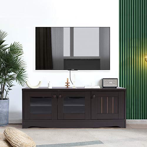 FurnitureR Soporte de TV moderno de madera con estantes de 2 niveles y 3 puertas, consola de…