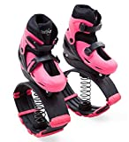 HearthSong Indoor/Outdoor Bouncy Jumping Shoes for Kids, Non-Slip Tread and Removable Liner for Easy Cleaning, in Pink, Large