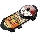 YZPDSKJ Elektrogrill Indoor Hot Pot Multifunktionaler Teppanyaki-Grill/Shabu Shabu-Topf mit Teiler - Separater Doppeltemperaturregler, Kapazität für 8 Personen, 220 V