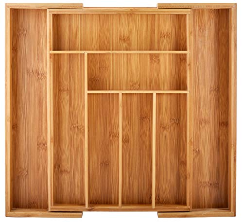 Bamboo Kitchen Drawer Organizer - Easily Adjust The Wooden Tray Width to Drawer Size Deep Enough to Fit Entire Drawer and Accommodates Different Kitchen Utensil and Cutlery Sizes