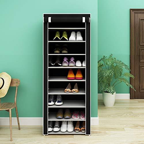 SoSo-BanTian1989 Black 10 Tiers Shoe Rack with Dustproof Cover Closet Shoe Storage Cabinet Organizer