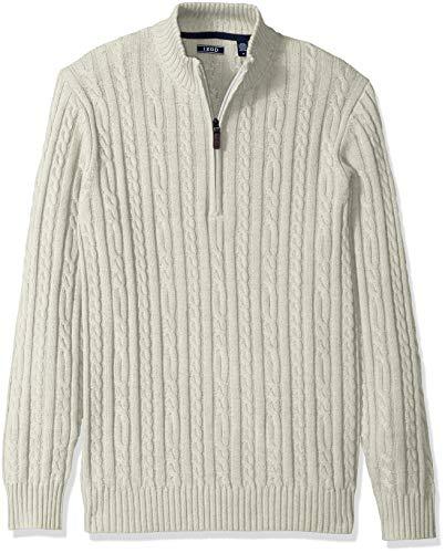 IZOD Men's Premium Essentials Solid Quarter Zip 7 Gauge Cable Knit Sweater, Edifice Heather, X-Large
